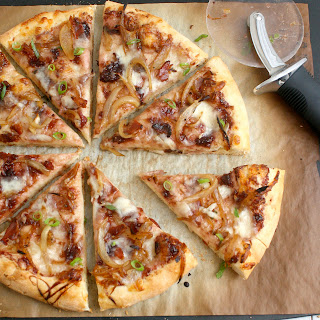 Caramelized Onion and Bacon Pizza with Fig Jam