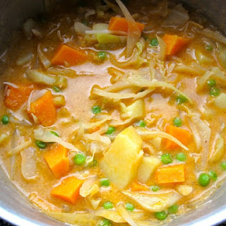 Cabbage with Sweet Potato In Coconut Milk.