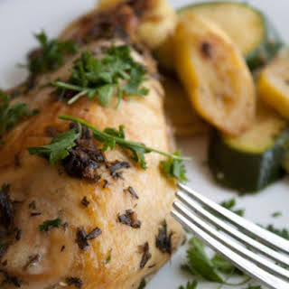 Butter Roasted Chicken with Rosemary and Sage.