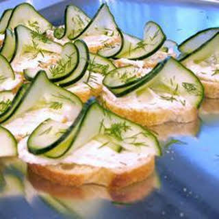 Creamy Cucumber and Dill Canapes.