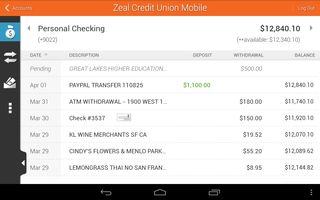 Zeal Credit Union Mobile- screenshot
