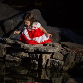 Playing in the Pond by Craig Lybbert - Babies & Children Children Candids ( child, reflection, play, children, red dress, pond )