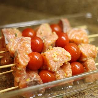 Salmon Skewers & Quinoa Salad.