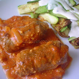 Beef Rolls with Tomato Sauce and Mustard.