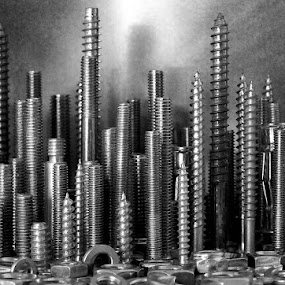 screw york by Brian Rogers - Black & White Abstract ( nuts & bolts, monochrome, still life, metalic, mono, object )