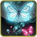 blue & pink butterfly glitter icon