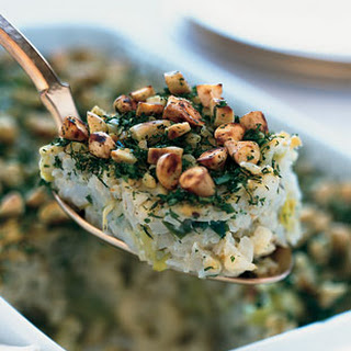 Cauliflower-Leek Kugel with Almond-Herb Crust.