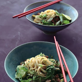 Chinese Cabbage Stir-Fry with Rice Noodles, Pork, and Cilantro.