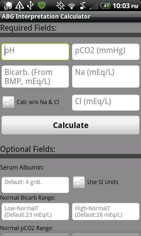 Arterial Blood Gas Interpreter- screenshot