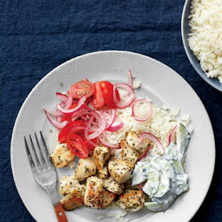 Greek-Style Chicken with Pickled Onions, Tomatoes, and Tzatziki.