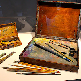 The Paintbox by Ronnie Caplan - Artistic Objects Antiques ( colourful, wooden, group of seven, plein air, box, paint, paintbrushes,  )
