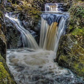 Pecca Falls, Ingleton by Jim Keating - Landscapes Waterscapes ( stream, waterscape, waterfall, rocks, lichen, , relax, tranquil, relaxing, tranquility )