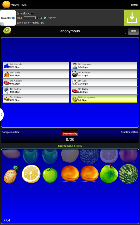 Fruit race- screenshot