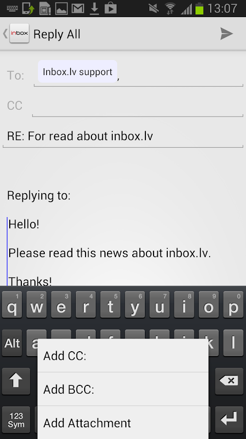 Inbox.lv - screenshot