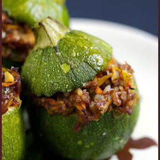 Stuffed Round Zucchinis with Red Rice and Vegetables.