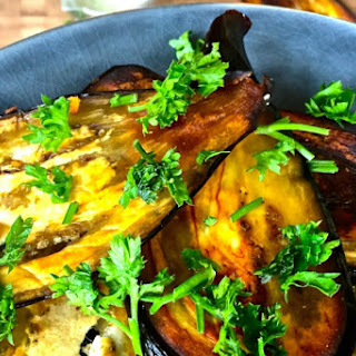 Eggplant Slices With Tahini Cumin Sauce [Vegan].