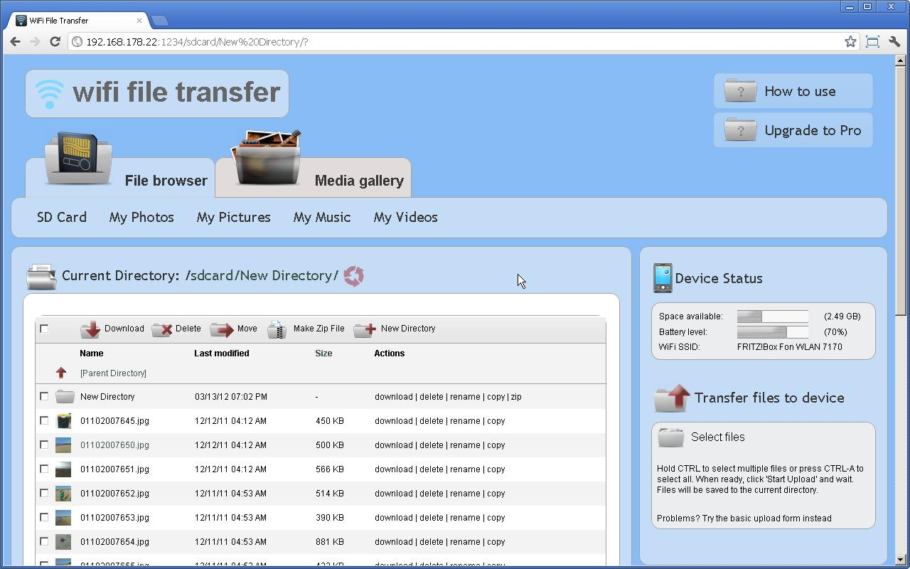 WiFi File Transfer- screenshot
