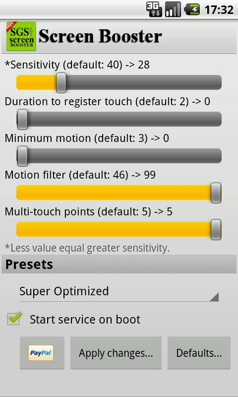 SGS Touchscreen Booster - screenshot