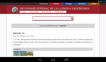 Screenshot of Diccionaris Valencians