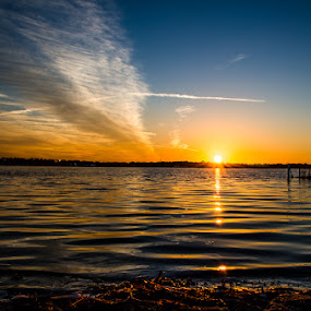 Conway Sunset by Emily Stillings - Landscapes Sunsets & Sunrises ( clouds, water, orange, reflection, e.j.stillings photography, conway, lake, yellow, sun, blue, sunset, florida, emily stillings, orlando,  )
