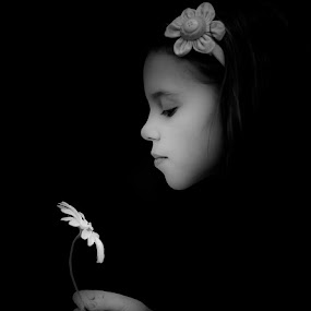 Two Daisy's by Ryan Bedingfield - Babies & Children Child Portraits ( girl, black and white, flower,  )