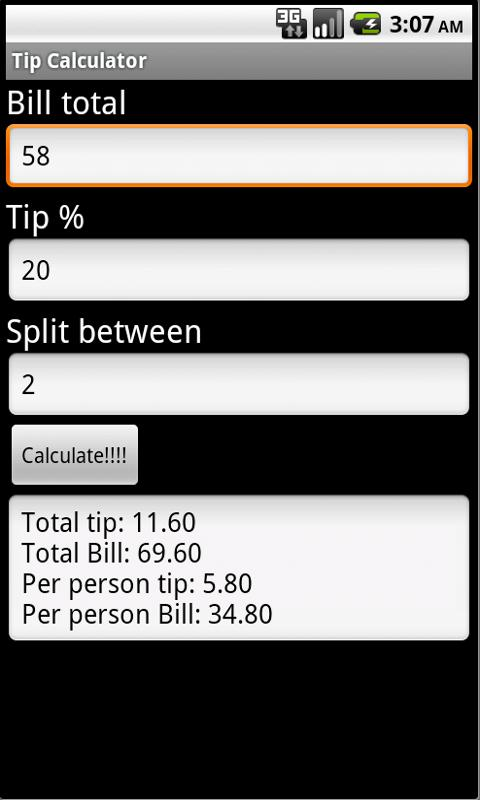 Tip Calculator- screenshot