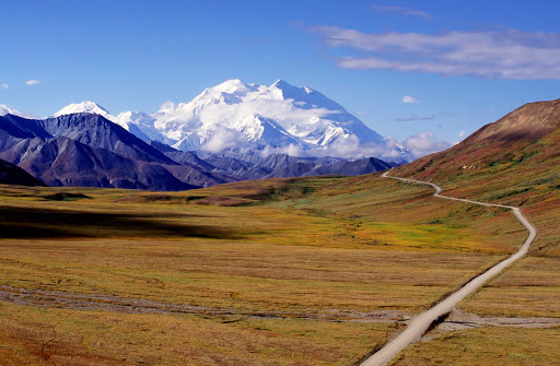 road-Mt-Mckinley-Denali - A ribbon of road leads to Mt. McKinley in Denali National Park, Alaska.