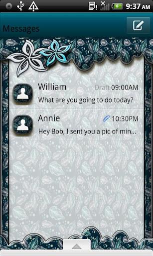 GO SMS THEME AquaLeaves4U