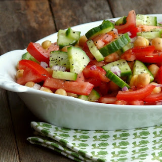 Cucumber, Tomato and Chickpea Salad.