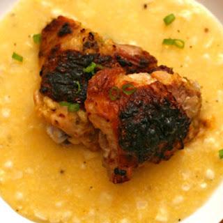 Grilled Mustard Chicken with Fresh Corn Polenta