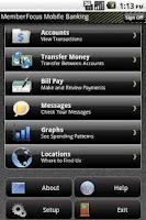Screenshot of MemberFocus Mobile Banking