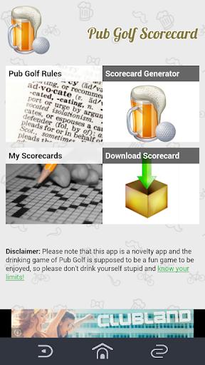 Pub Golf Scorecard