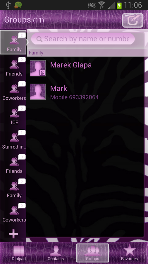 GO Contacts Violet Zebra - screenshot