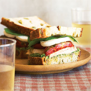 Turkey Sandwiches with Roasted Romas, Fresh Mozzarella, and Arugula-Walnut Pesto