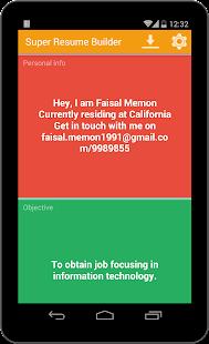 super resume builder pro cv screenshot thumbnail