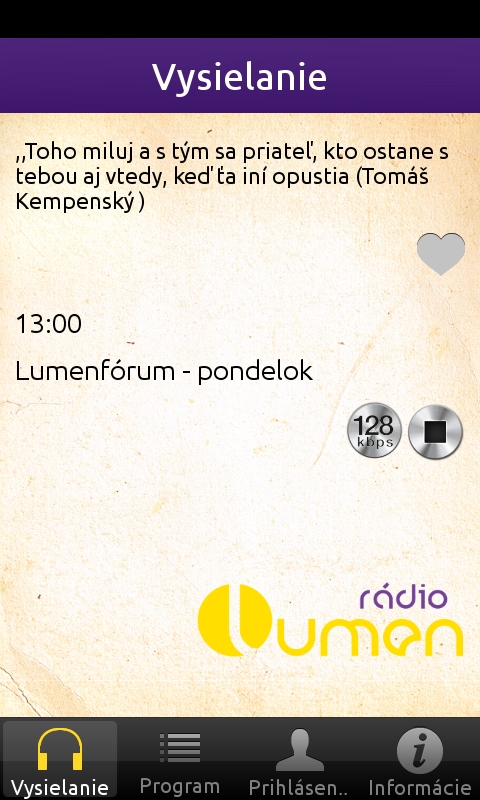 Rádio LUMEN - screenshot