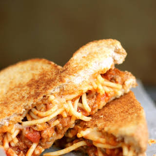 Spaghetti and Garlic Toast Grilled Cheese.