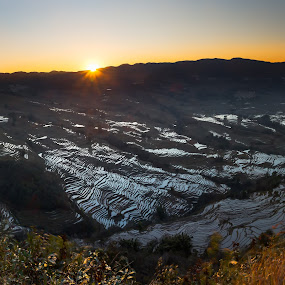 Sunrise over Yuanyang, Yunnan China by Norman Leong - Landscapes Sunsets & Sunrises ( sunrise, yuanyang )