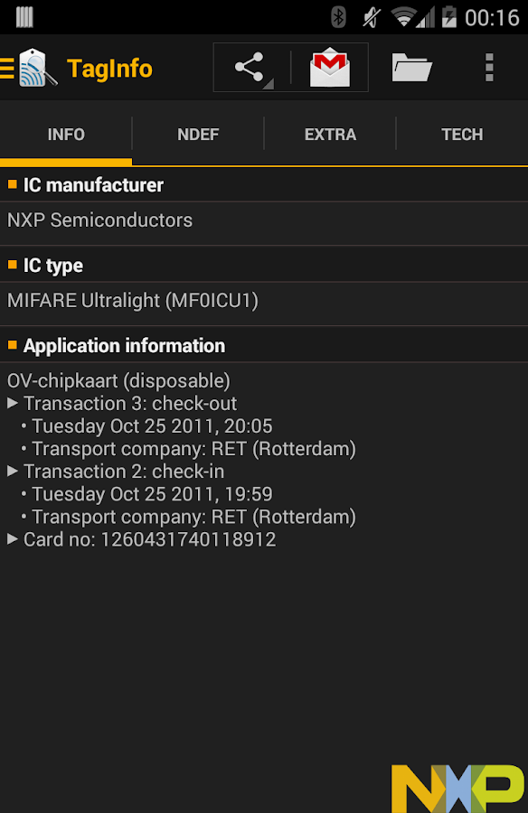 NFC TagInfo by NXP - screenshot