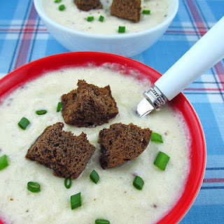 Cheddar Cheese Beer Soup with Pumpernickle Croutons