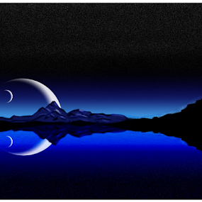 clear night by Tracey Macnish - Digital Art Places ( mountains, moon, lake, nightscape, photoshop )
