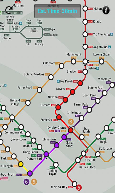 Singapore MRT Route- screenshot