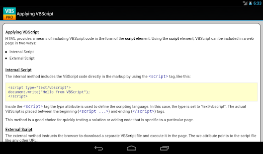 VBScript Pro Quick Guide - screenshot thumbnail