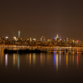 NYC nighttime skyline by Werner Ennesser - City,  Street & Park  Night ( skyline, ny city, empire state building, night time, freedom tower,  )