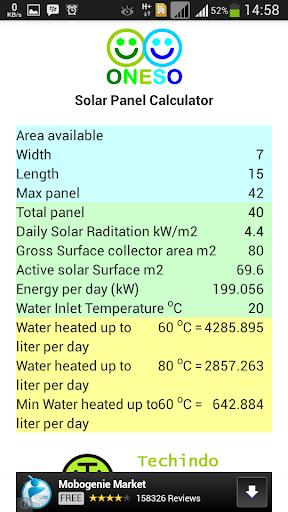 Oneso Solar Calculator