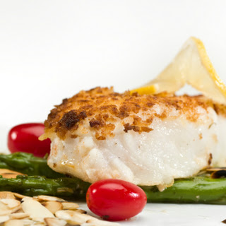 Dave Lieberman's Almond and Herb Baked Halibut.