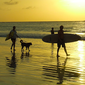 Costa Rica Surfers With Their Dog by Donovan Twaddle - People Street & Candids ( shore, sand, waves, sol, tamarindo, sea, beach, perro, people, surfers, sun, coast, canine, tides, leash, sunset, costa rica, playa, pooch, dog, surf, barefoot,  )