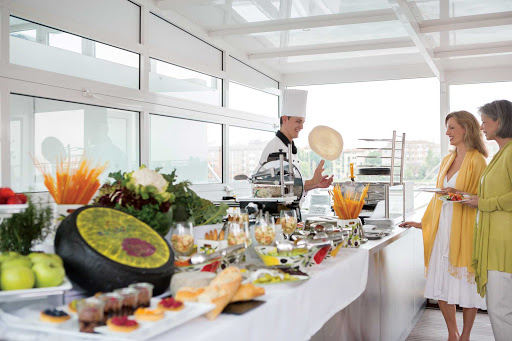 Uniworld-River-Countess-buffet - A look at the buffet, made from fresh local produce, aboard the Uniworld cruise ship River Countess.