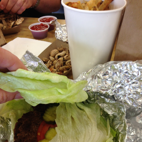 Lettuce wrap burger and fries