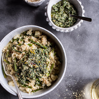 "Quick Cauliflower ""Risotto"" with Asparagus + Cilantro-Basil Hemp Seed Pesto."